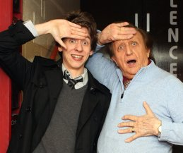 Ciaran Brown with Ken Dodd after his 'Christmas Happiness Show' at Nottingham's Royal Centre, January 2010